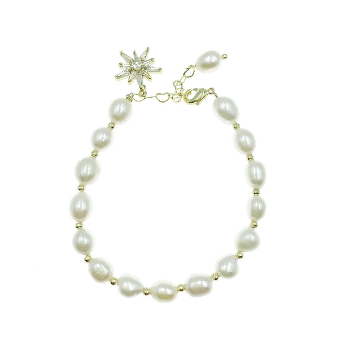 韓國 天然珠 星星 水鑽 愛心 可調式 手鍊