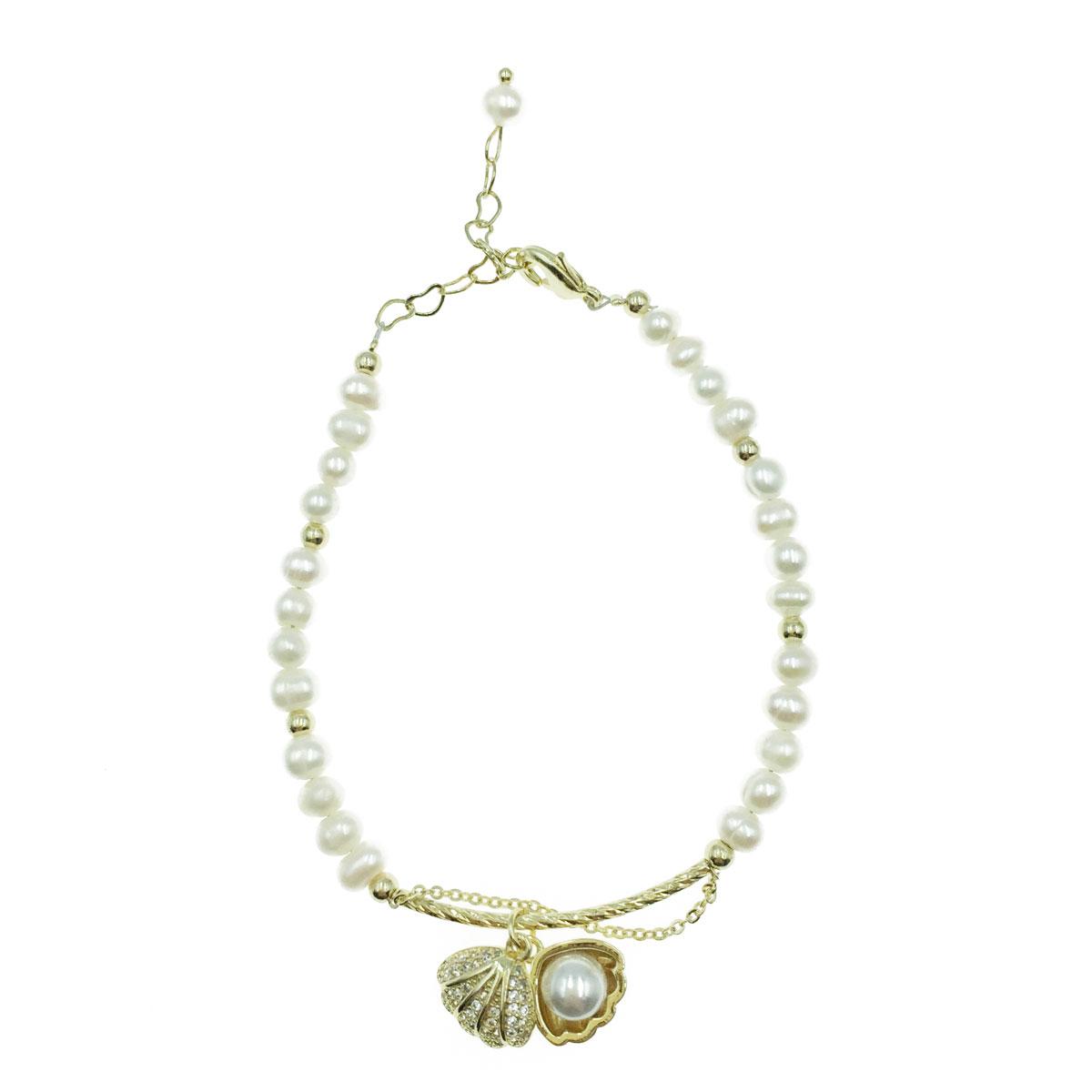 韓國 天然珠 貝殼 珠珠 愛心 可調式 手鍊