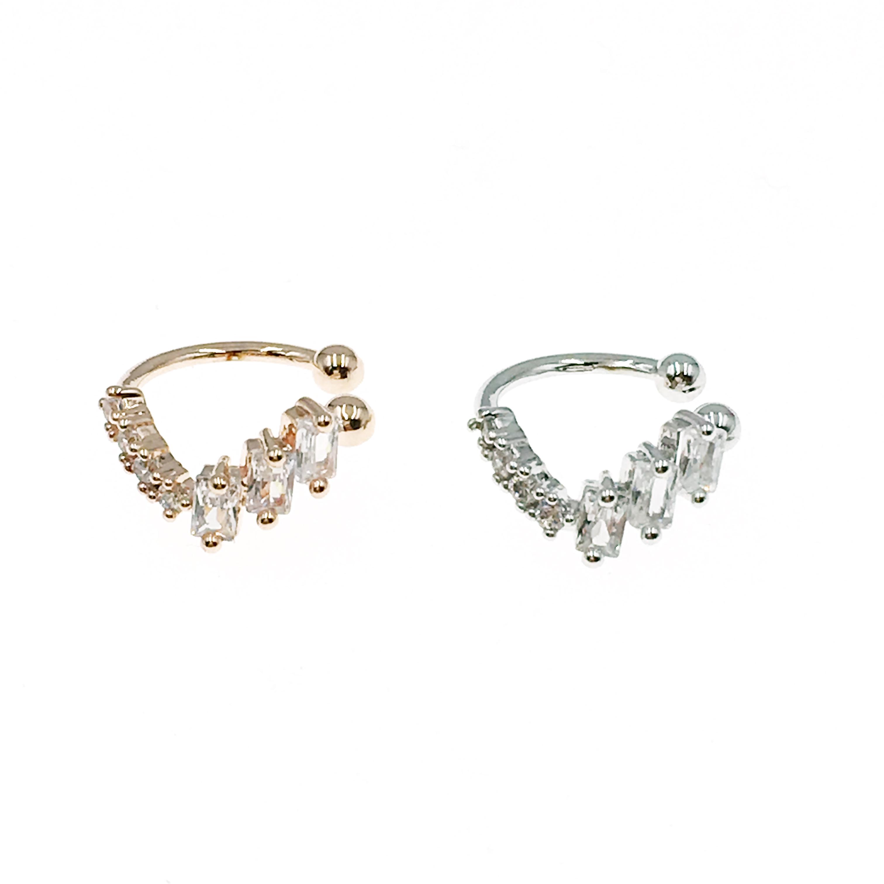 韓國 方形 水鑽 V型 兩色 耳骨夾 耳環