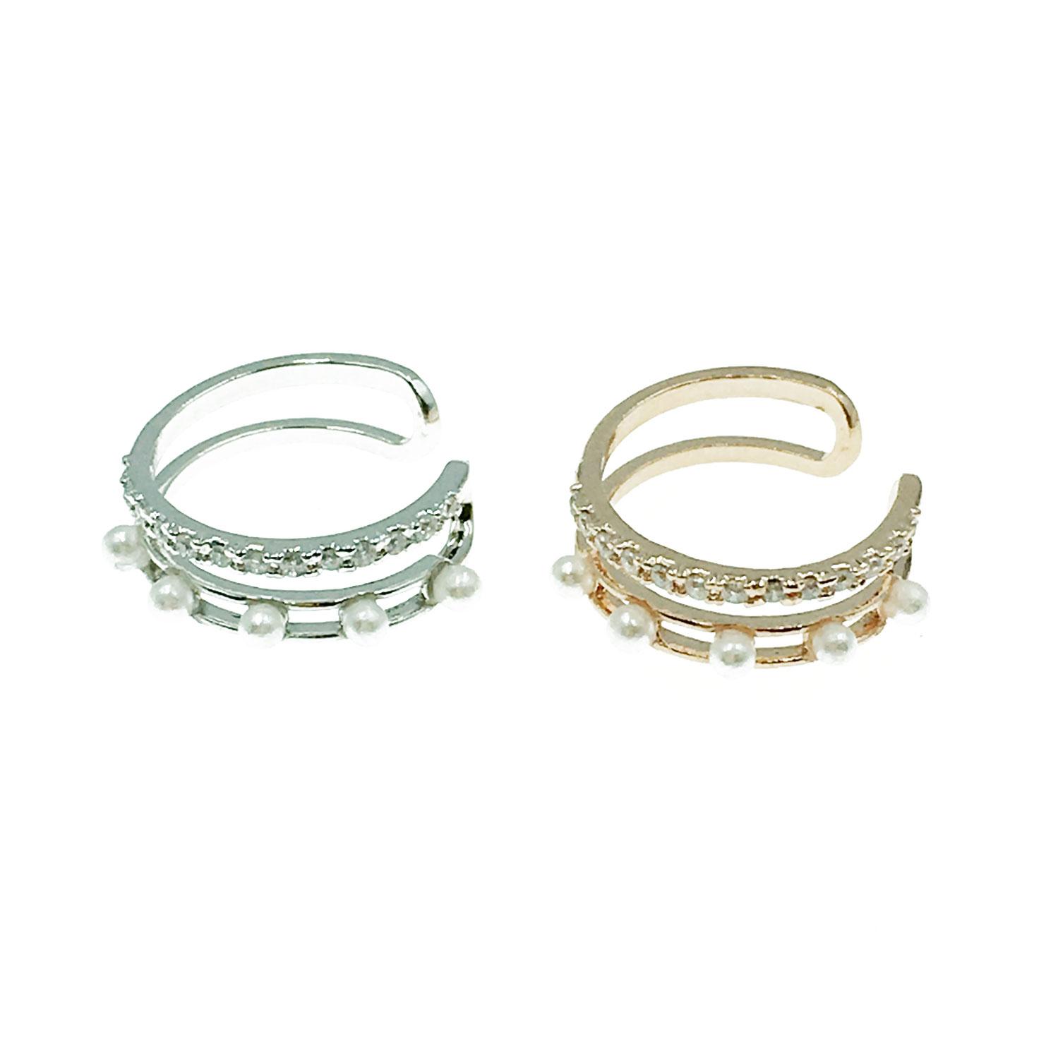 韓國 水鑽 珍珠 雙層 兩色 耳骨夾 耳環
