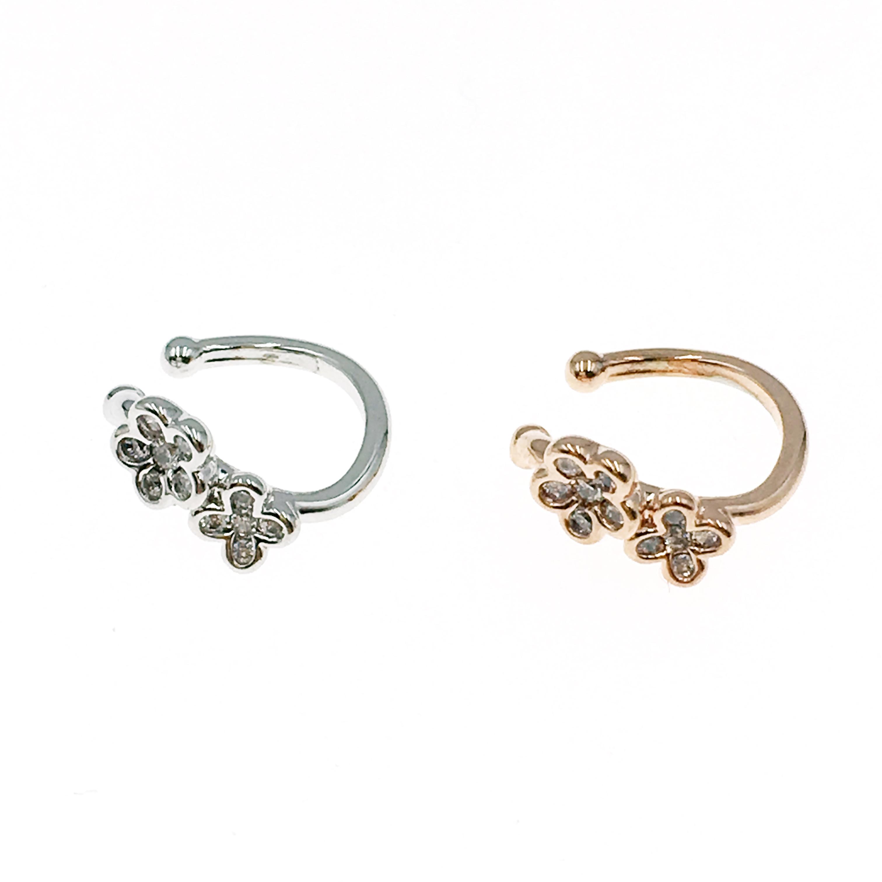 韓國 小花 水鑽 兩色 耳骨夾 耳環