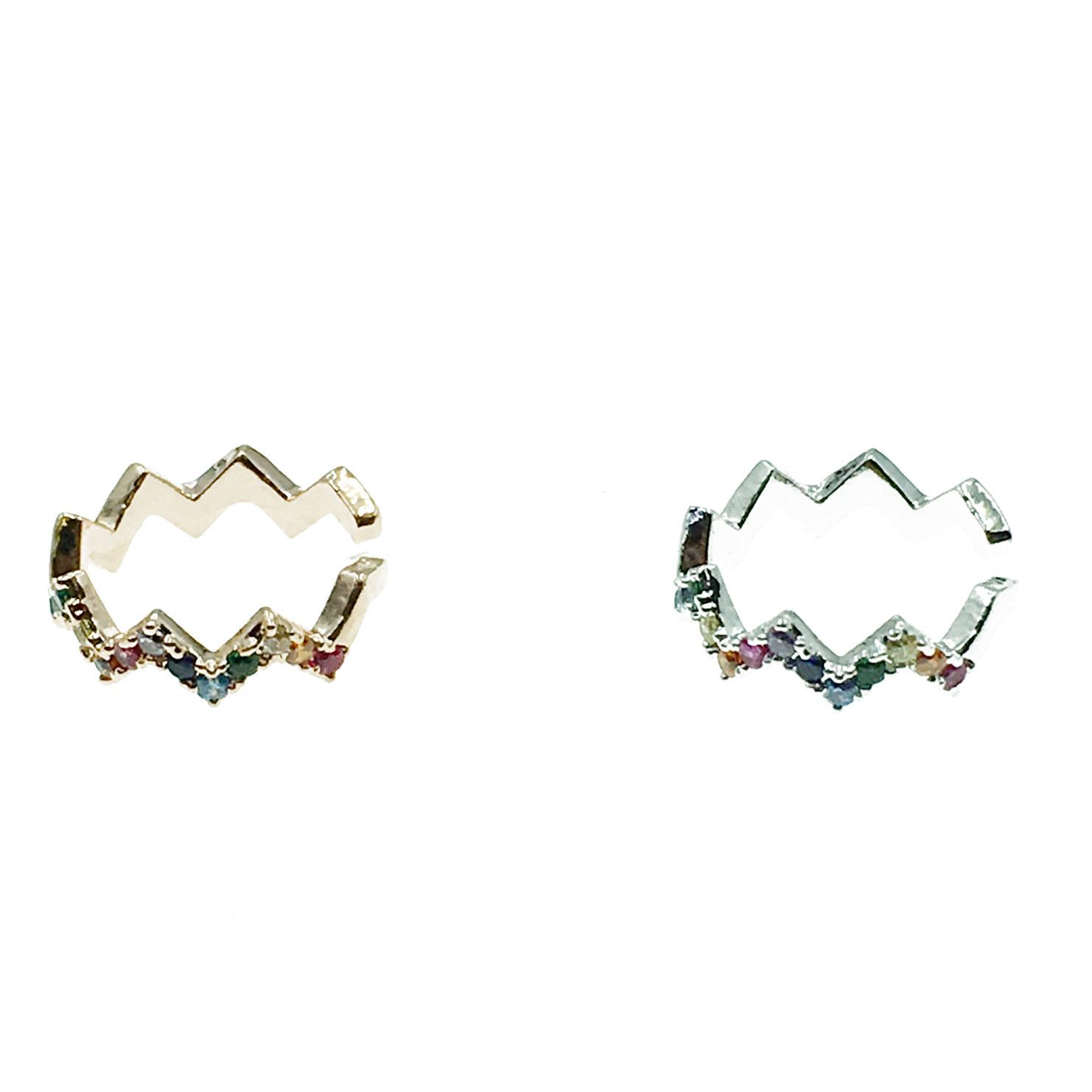 韓國 鋸齒 彩鑽 兩色 耳骨夾 耳環