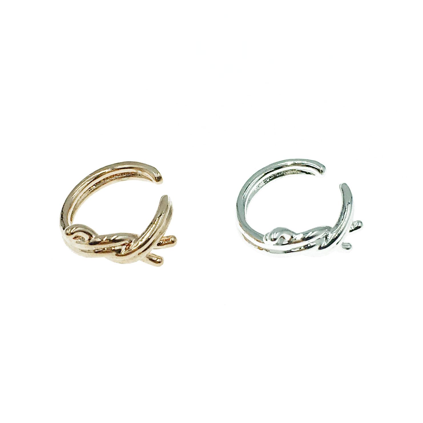 韓國 交錯結 簡約 兩色 耳骨夾 耳環
