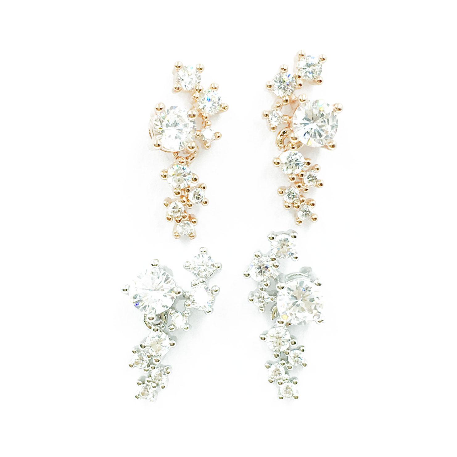 韓國 925純銀 明星款 水鑽 兩色 耳針式 耳環