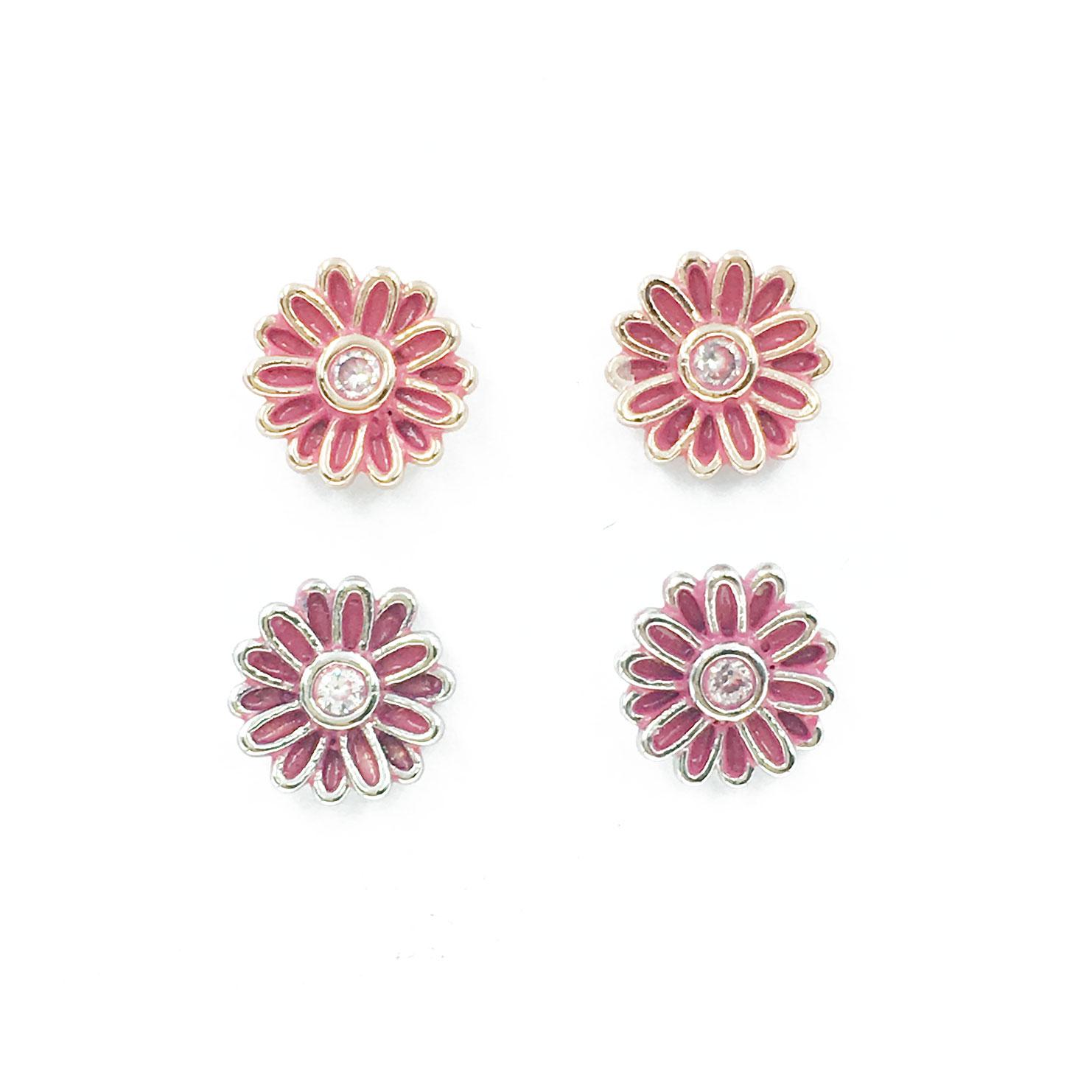 韓國 925純銀 明星款 水鑽 小花 兩色 耳針式 耳環