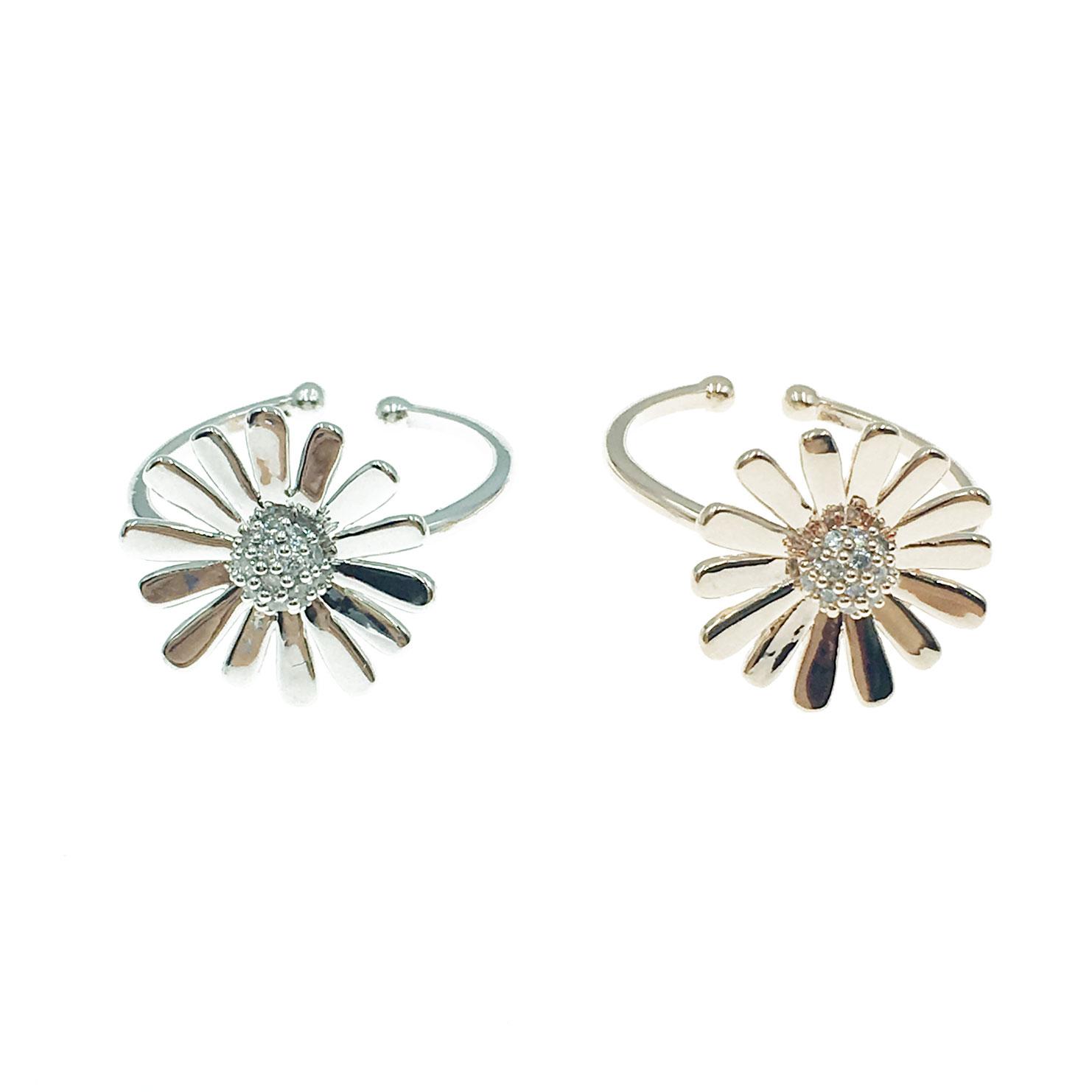 韓國 明星款 水鑽 花朵 兩色 可調式 戒指