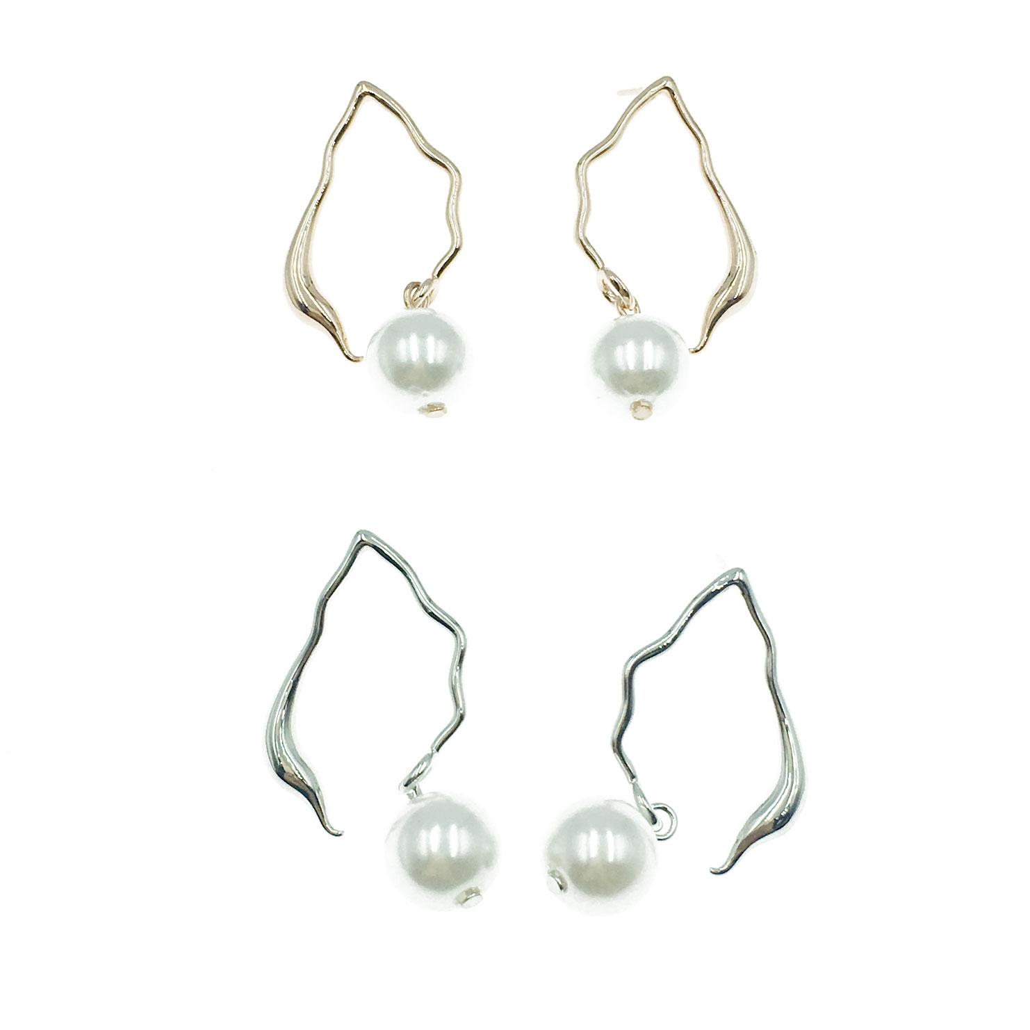 韓國 925純銀 明星款 珍珠 兩色 垂墜感 耳針式 耳環