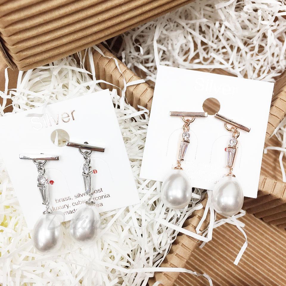 韓國 925純銀 水鑽 珍珠 兩色 垂墜感 耳針式 耳環