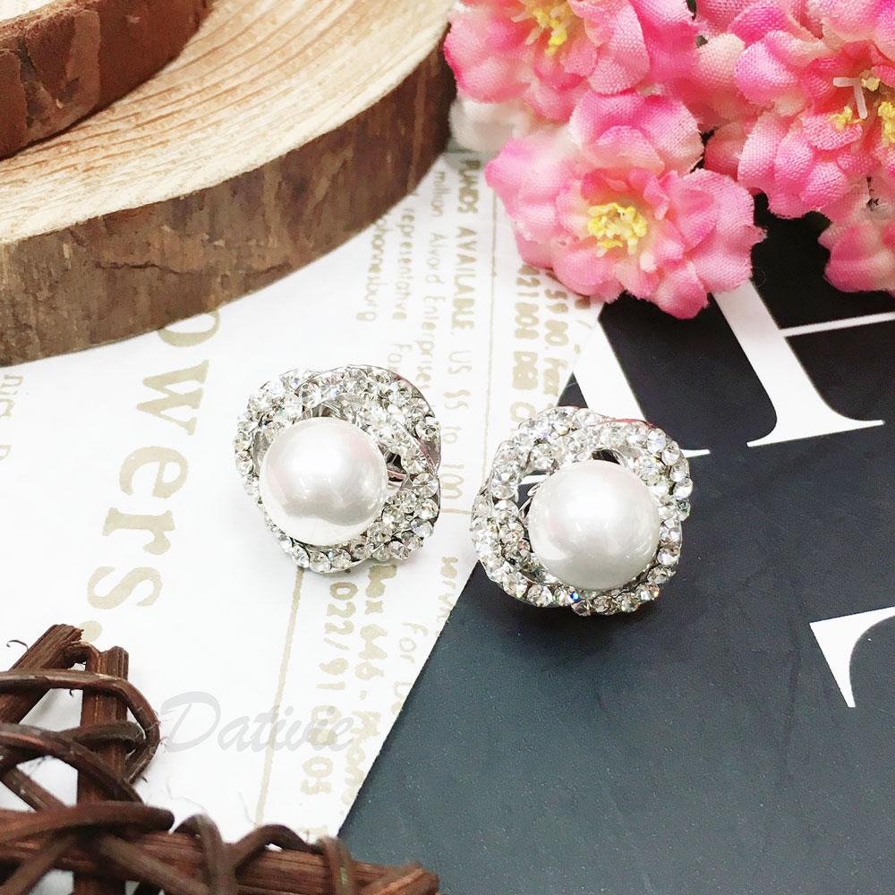水鑽 珍珠 花 夾式 耳環