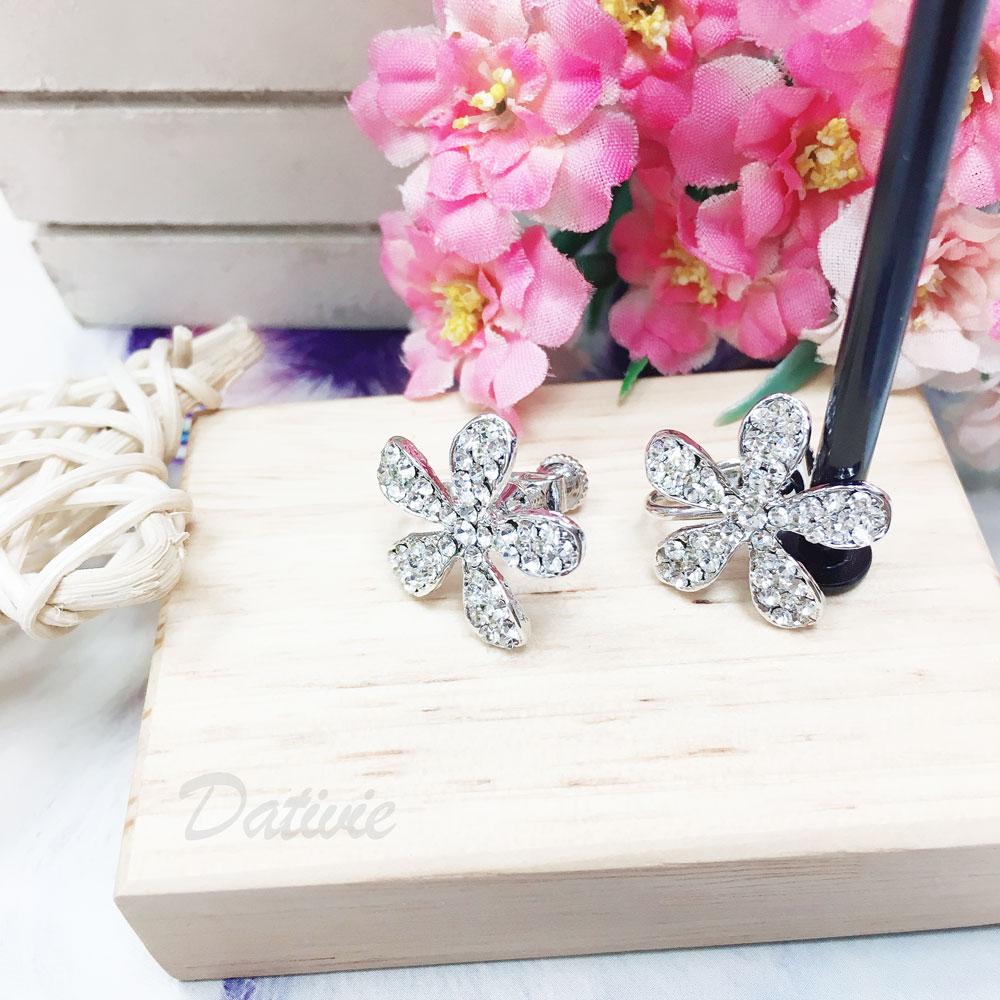 水鑽 花朵 夾式 耳環