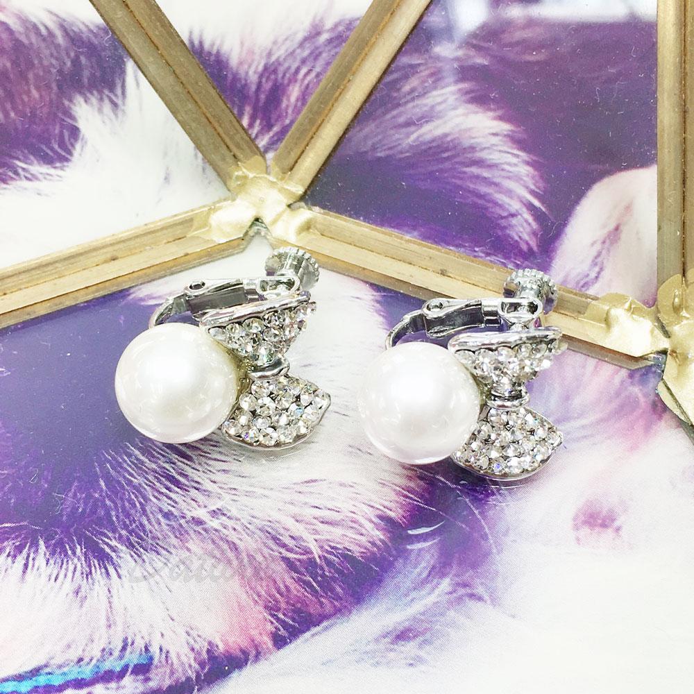 水鑽 珍珠 蝴蝶結 夾式 耳環