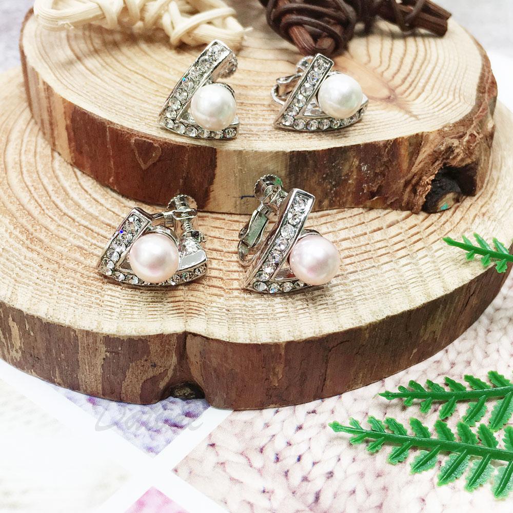 水鑽 珍珠 v 兩色 彩珠 夾式 耳環