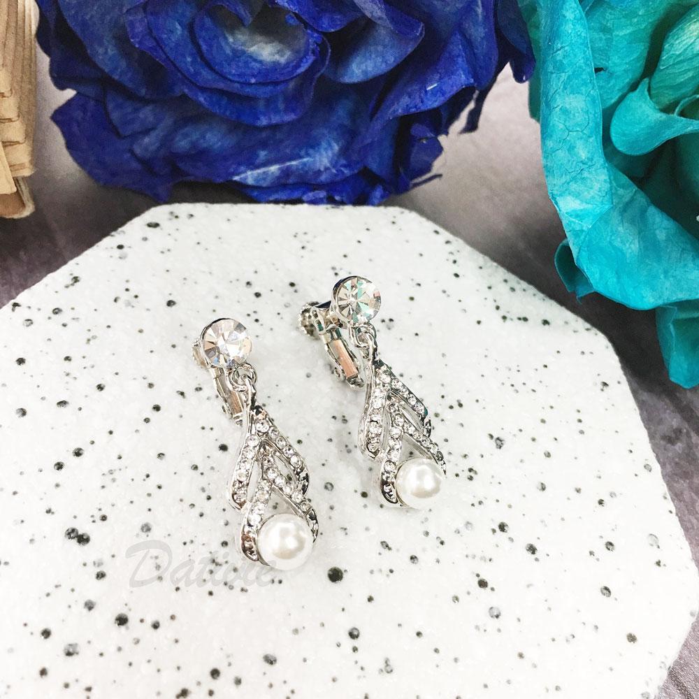水鑽 珍珠 倒Y 垂墜感 夾式 耳環