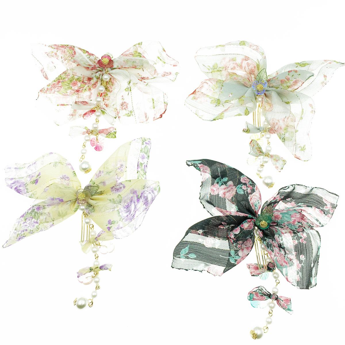 韓國 小花 珍珠 垂墜 蝴蝶結 金線 四色 髮叉 髮飾