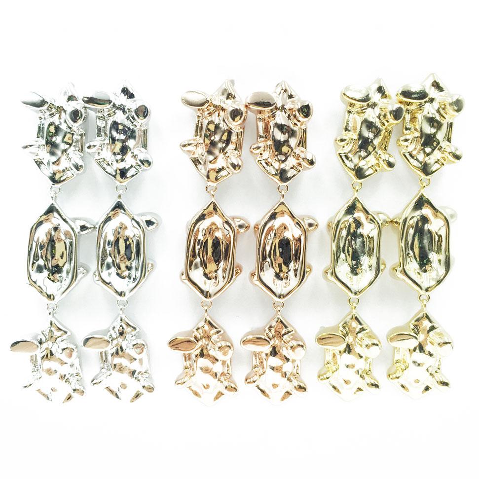 韓國 925純銀 明星款 金屬 簡約 烏龜腳 三色 垂墜感 耳針式 耳環