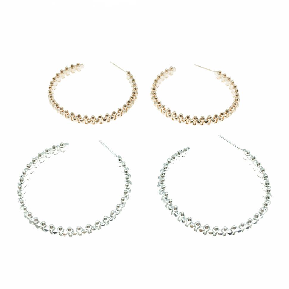 韓國 925純銀 明星款 方形 子彈 金屬 半圓 兩色 垂墜感 耳針式 耳環
