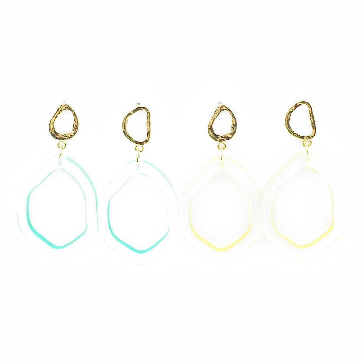 韓國 簡約 可愛 金邊 透明 兩色 垂墜感 耳環