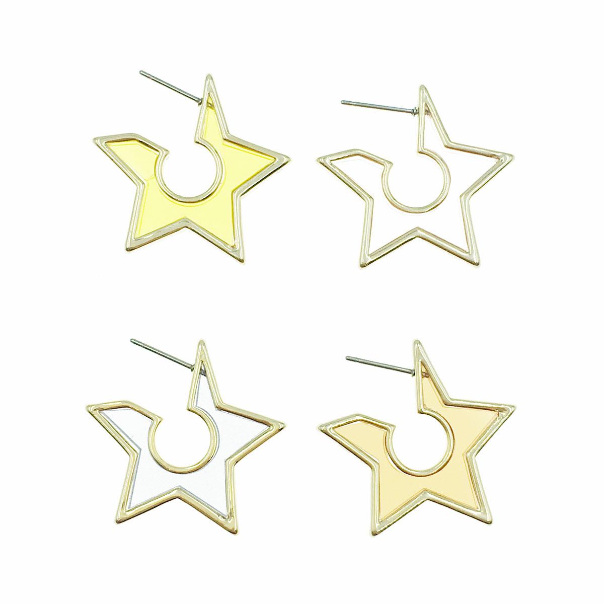 韓國 半透明 金邊 星星 可愛 氣質 兩色 耳針式 耳環