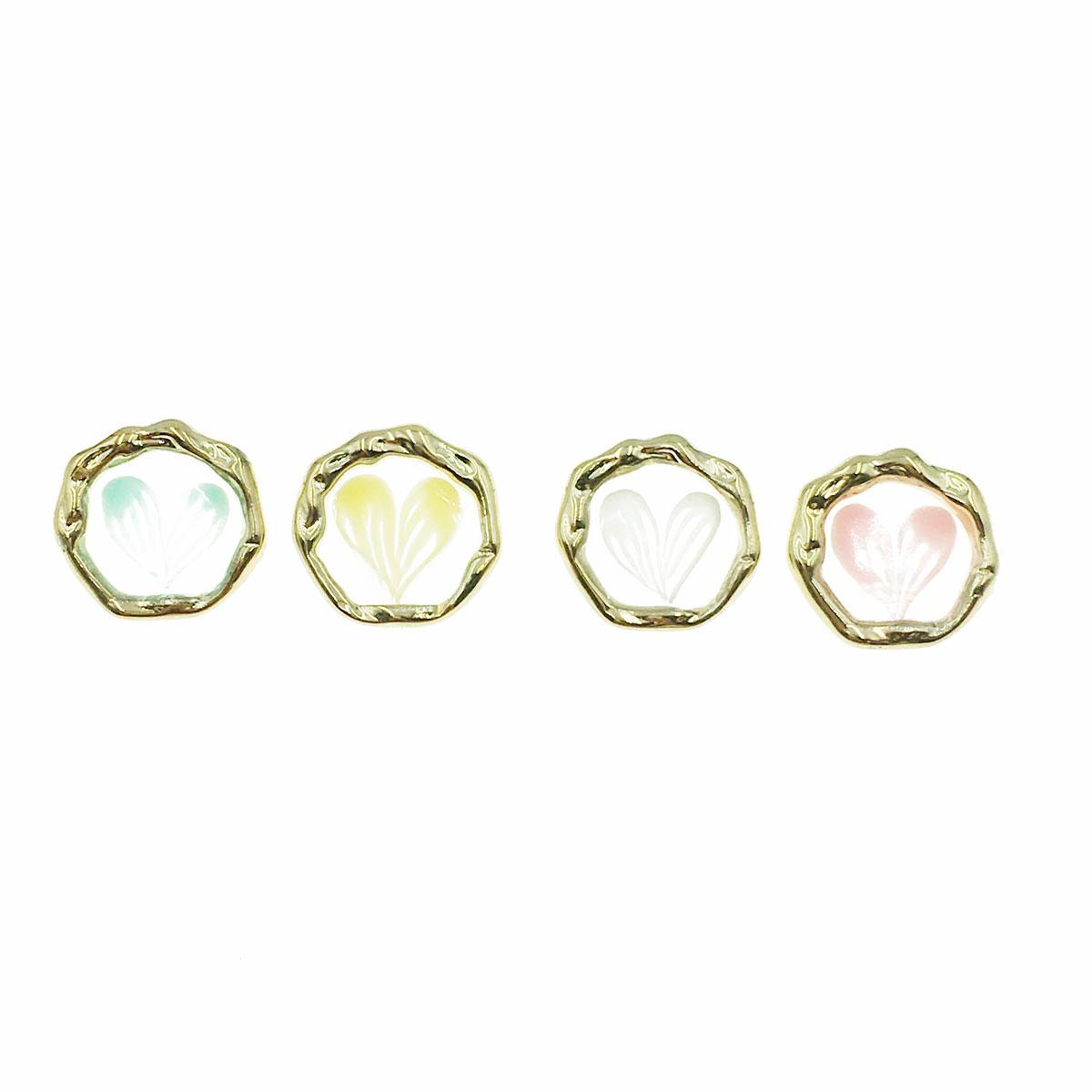 韓國 愛心 透明 金邊 不對稱 兩色 耳針式 耳環