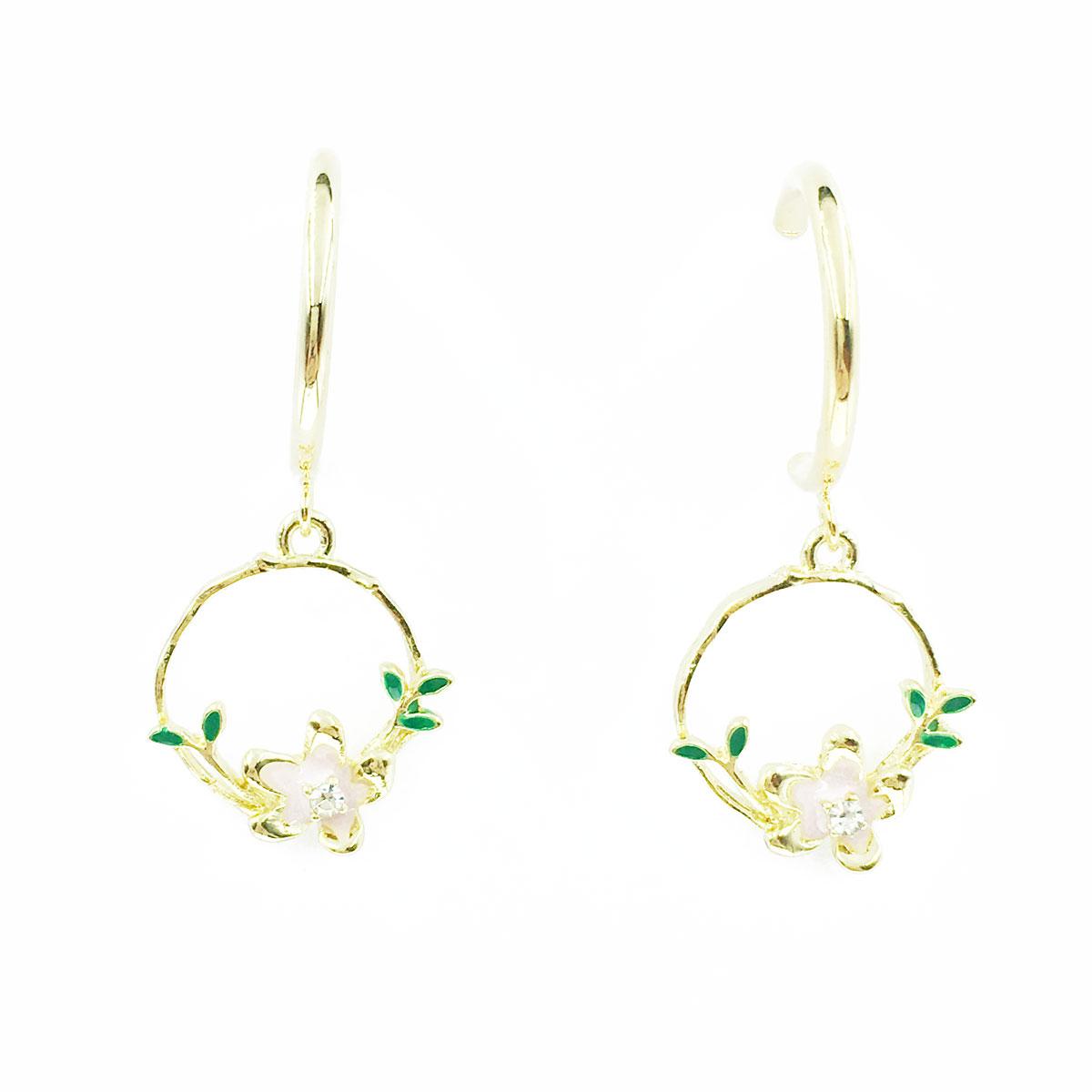 韓國 小花 葉子 水鑽 半圓 垂墜感 耳針式 耳環
