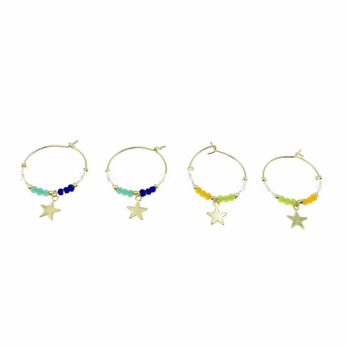 韓國 星星 珠珠 彩珠 金邊 兩色 耳勾式 耳環