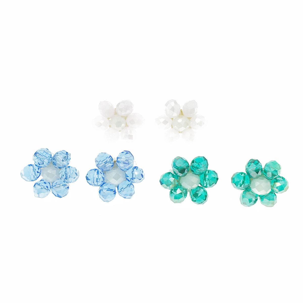 韓國 小花 串珠 三色 耳針式 耳環