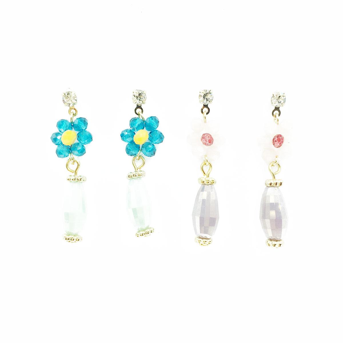 韓國 小花 水鑽 金邊 串珠 兩色 垂墜感 耳針式 耳環