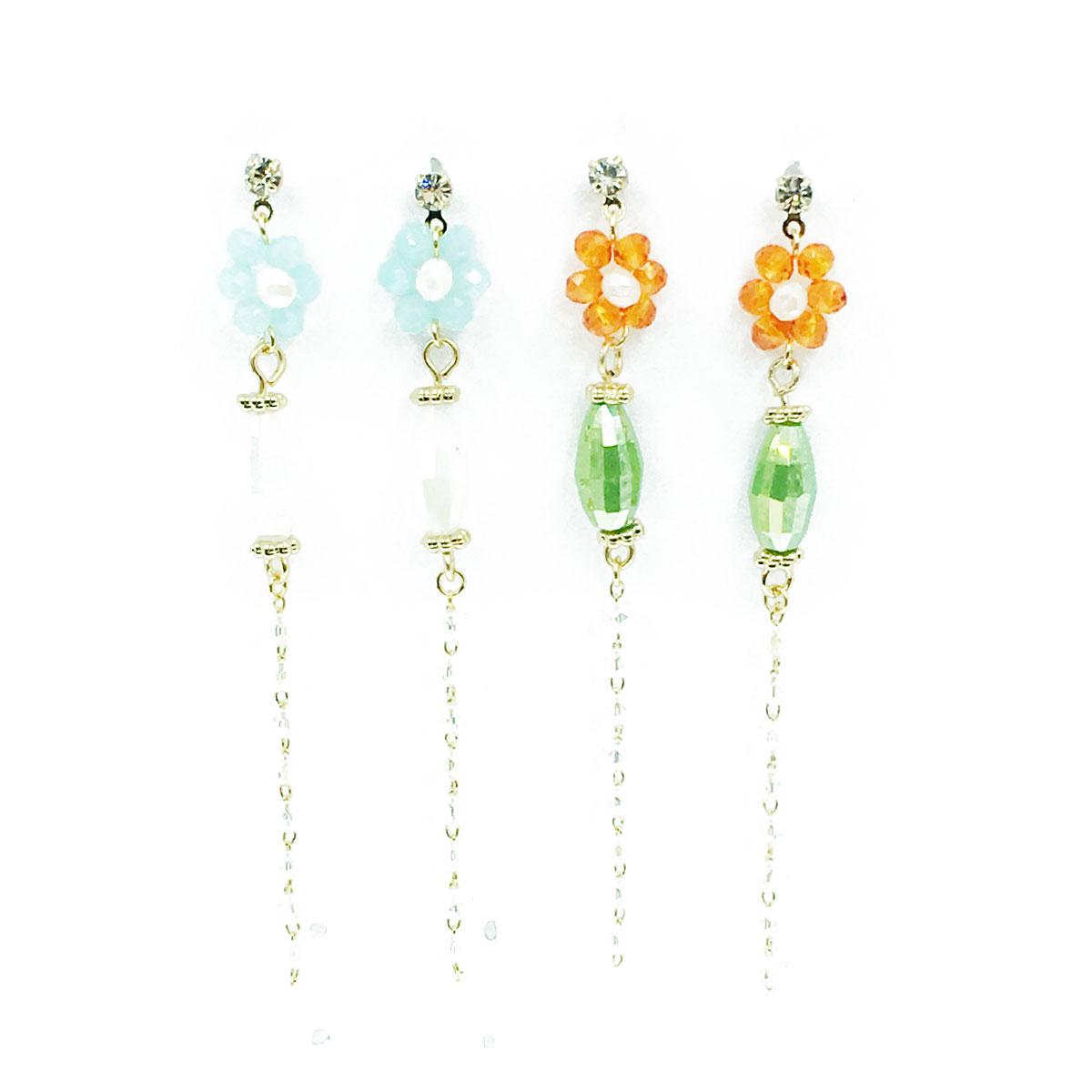 韓國 水鑽 金邊 串珠 兩色 垂墜感 耳針式 耳環