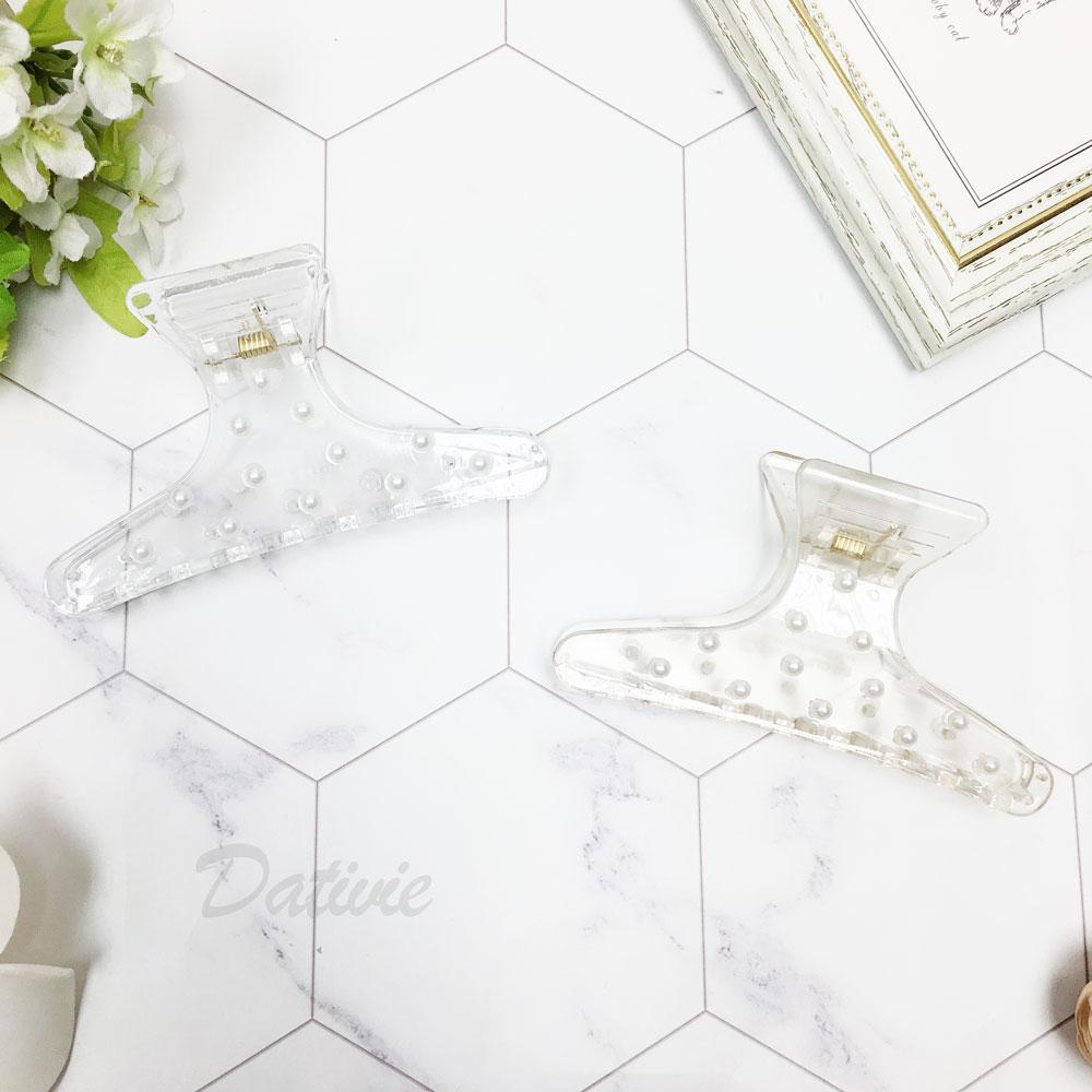韓國 珍珠 透明感 兩色 髮夾 髮飾 鯊魚夾
