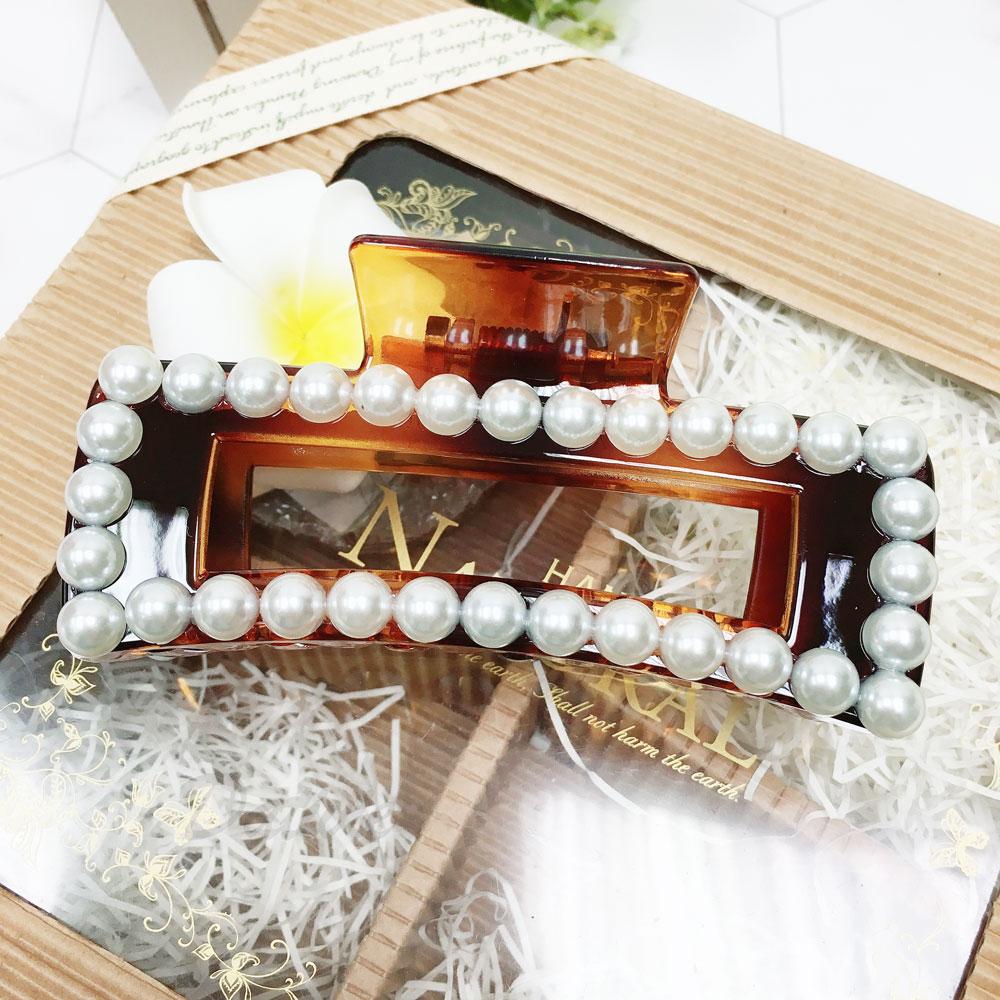 韓國 珍珠 方形 簡約 髮飾 髮夾 鯊魚夾