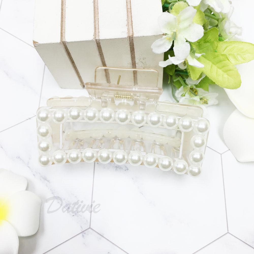 韓國 珍珠 方形 透明感 簡約 髮飾 髮夾 鯊魚夾