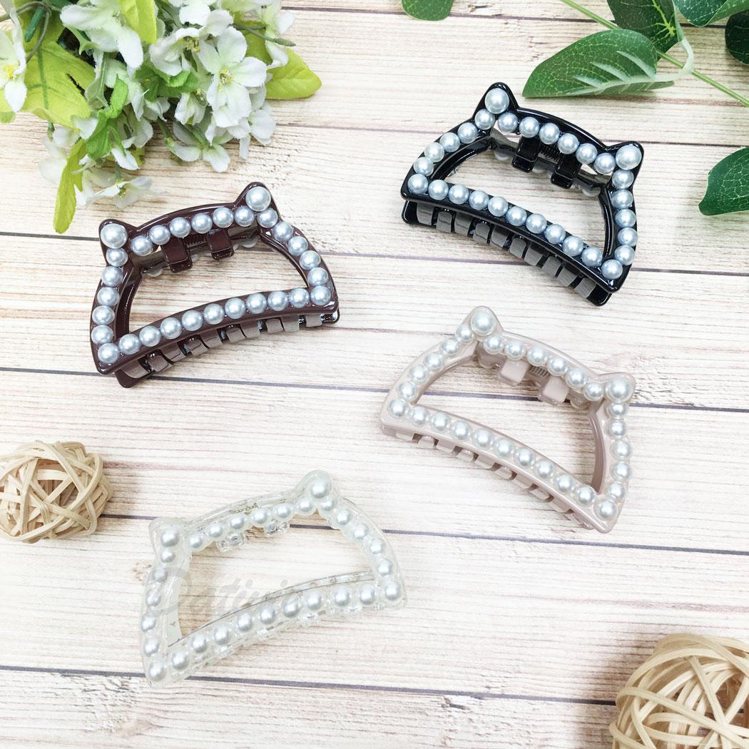 珍珠 貓咪 簍空 四色 髮飾 髮夾 鯊魚夾