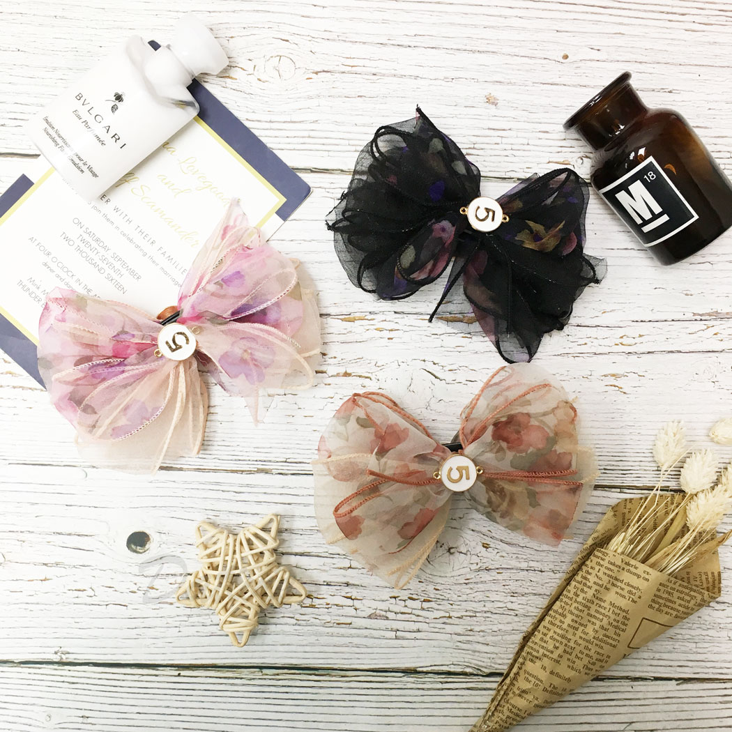 韓國 小香5 蝴蝶結 花朵 金邊 三色 髮飾 相交夾