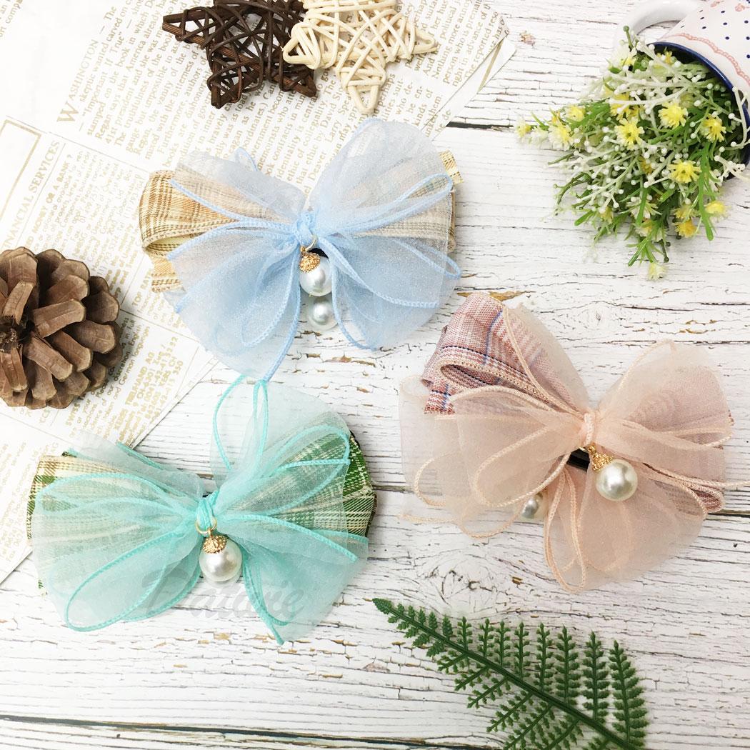 韓國 蝴蝶結 珍珠 格子 髮飾 相交夾