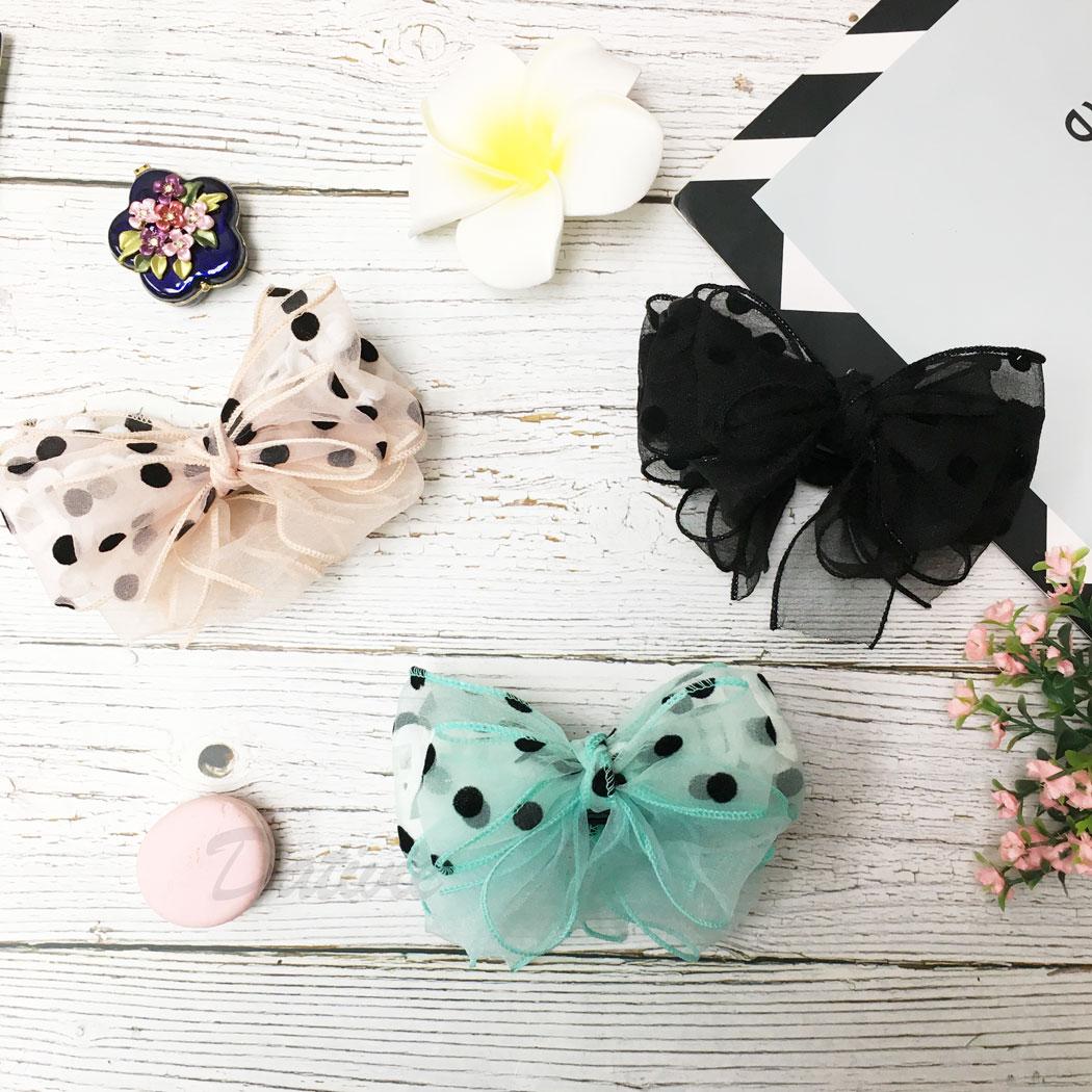 韓國 蝴蝶結 點點 紗 三色 髮飾 相交夾
