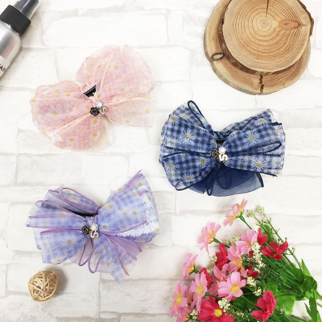 韓國 蝴蝶結 水鑽 小香花 小香5 小花 格子 三色 髮飾 相交夾
