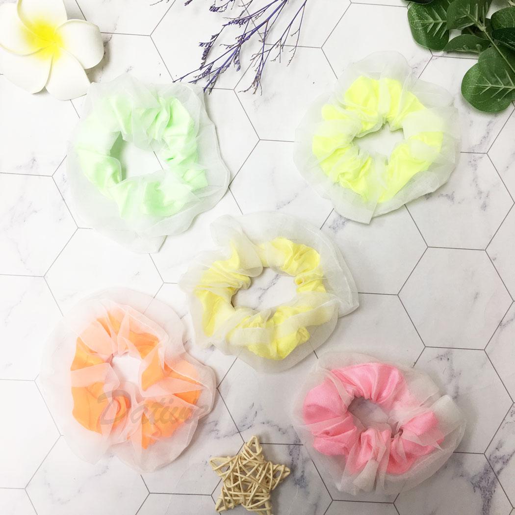 韓國 螢光 素面 五色 髮飾 髮圈 大腸圈