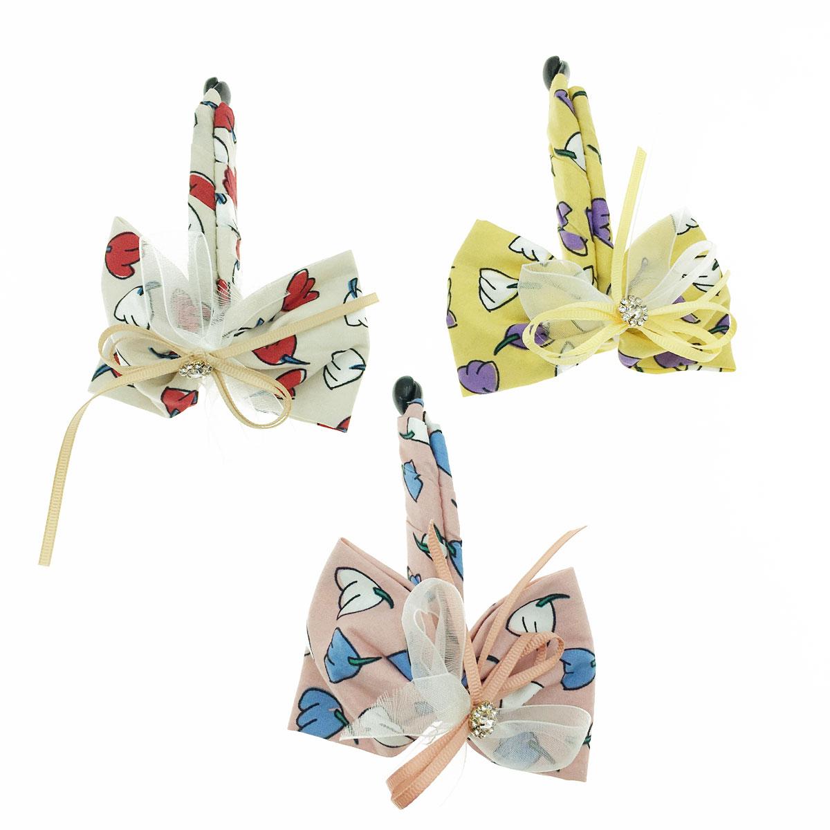 韓國 水鑽 蝴蝶結 繪畫花 緞帶 三色 髮飾 髮夾 相交夾