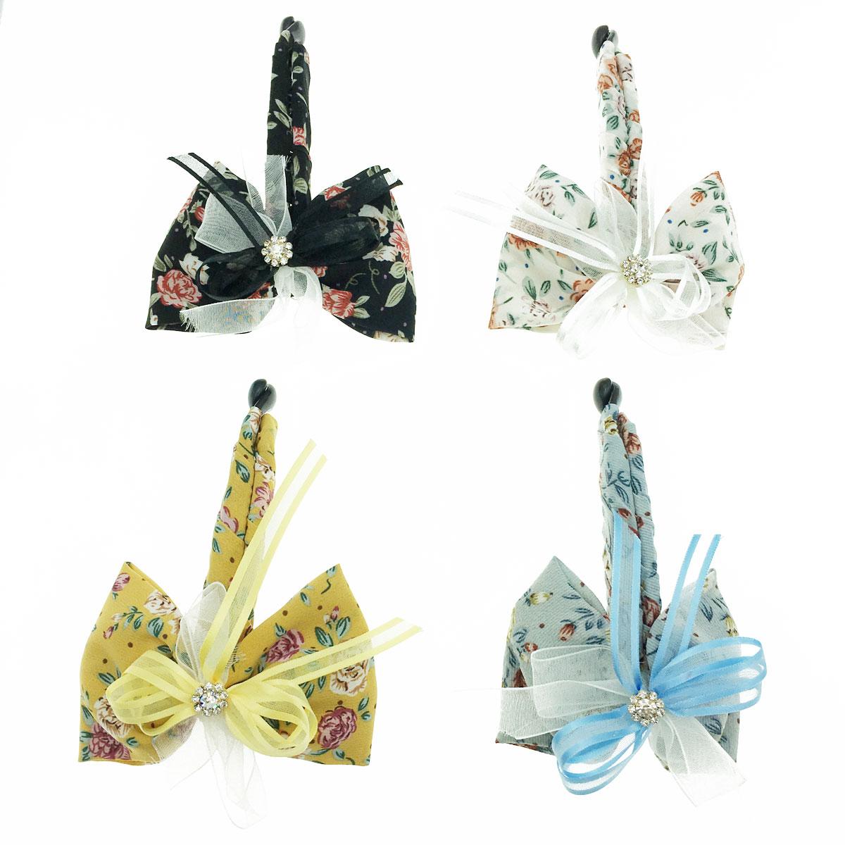 韓國 水鑽 蝴蝶結 花朵 緞帶 四色 髮飾 髮夾 相交夾