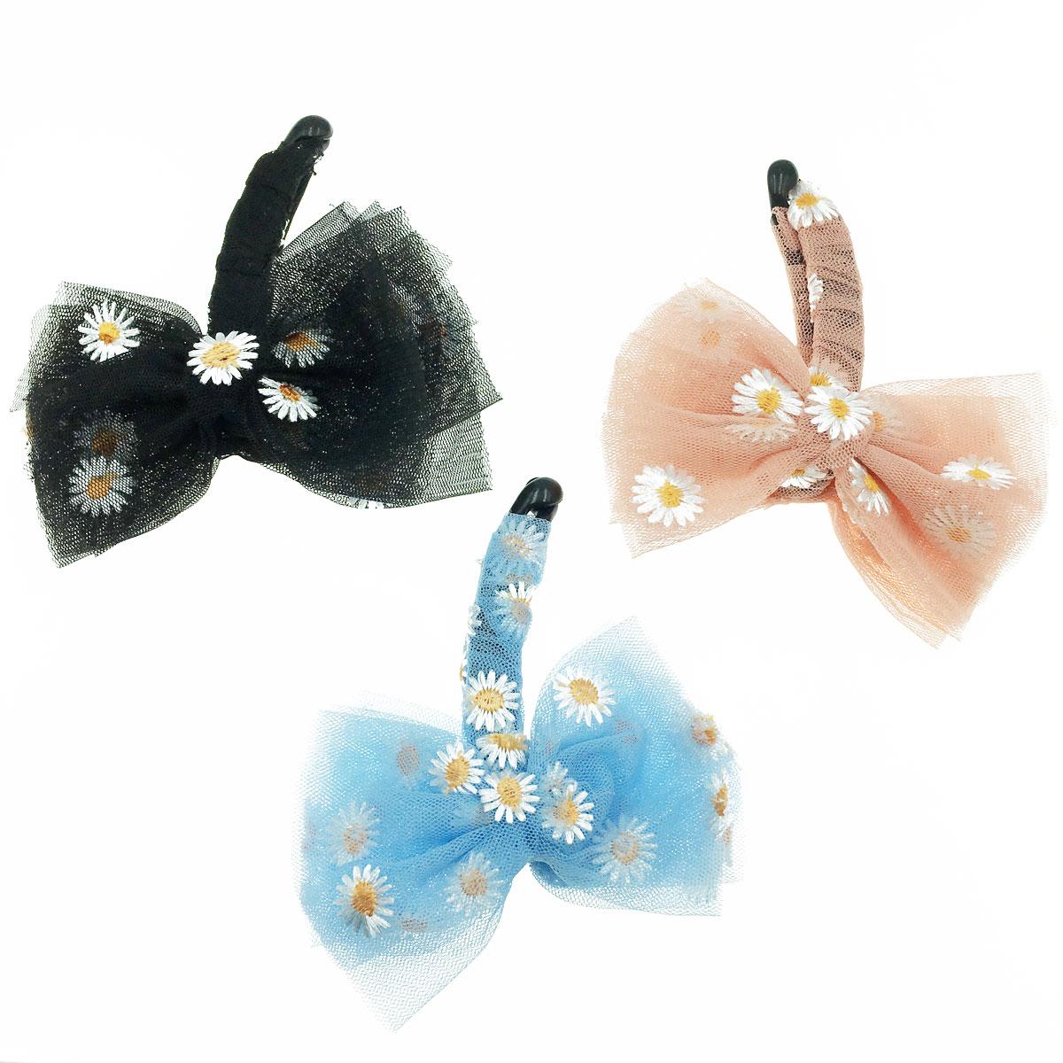 韓國 花朵 蝴蝶結 三色 髮飾 髮夾 相交夾