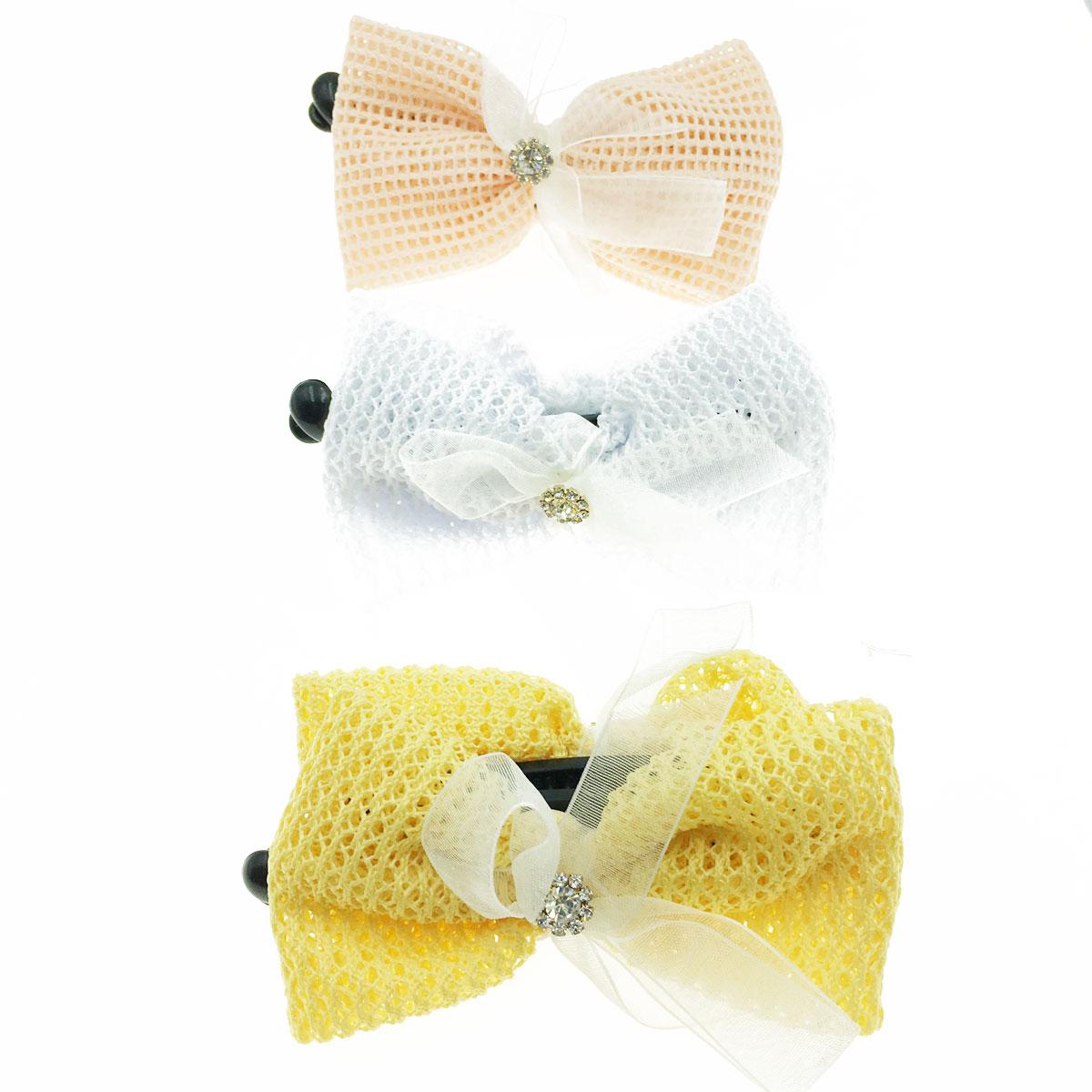 韓國 水鑽 蝴蝶結 緞帶 三色 髮飾 髮夾 相交夾