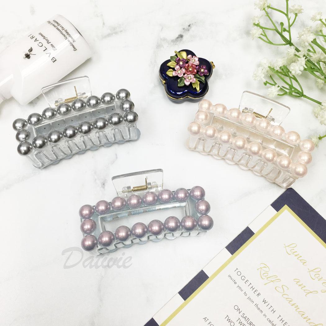 韓國 珍珠 透明感 方形 三色 髮飾 髮夾 鯊魚夾