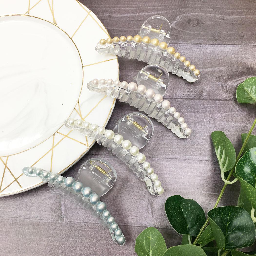 韓國 珍珠 透明感 四色 髮飾 髮夾 鯊魚夾
