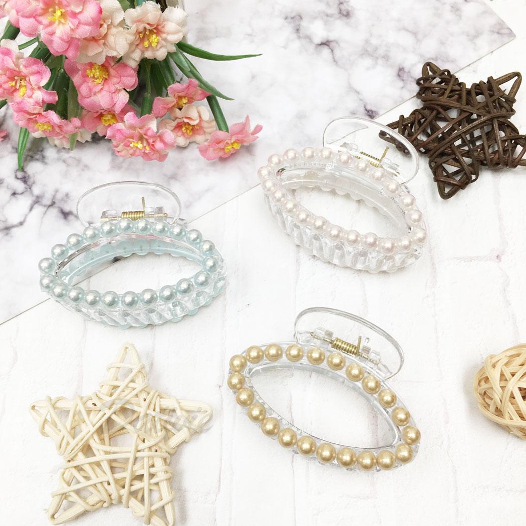 韓國 珍珠 透明感 圓 三色 髮飾 髮夾 鯊魚夾