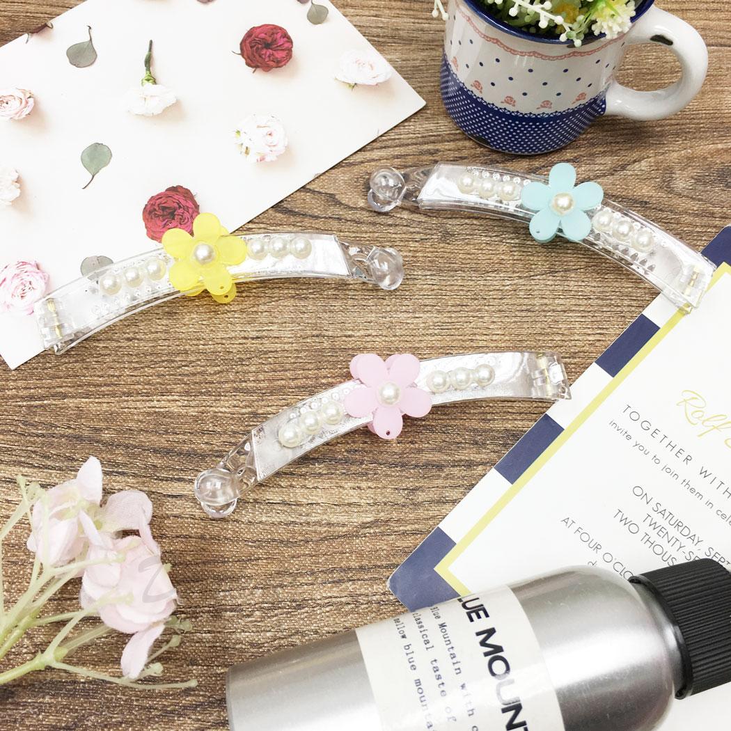 韓國 珍珠 小花 透明感 三色 髮飾 髮夾 相交夾