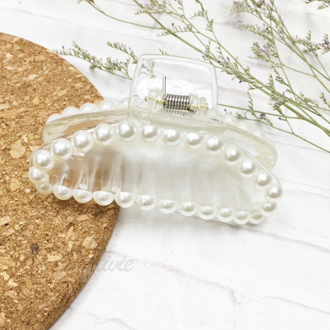 韓國 珍珠 透明感 霧面 髮飾 髮夾 鯊魚夾