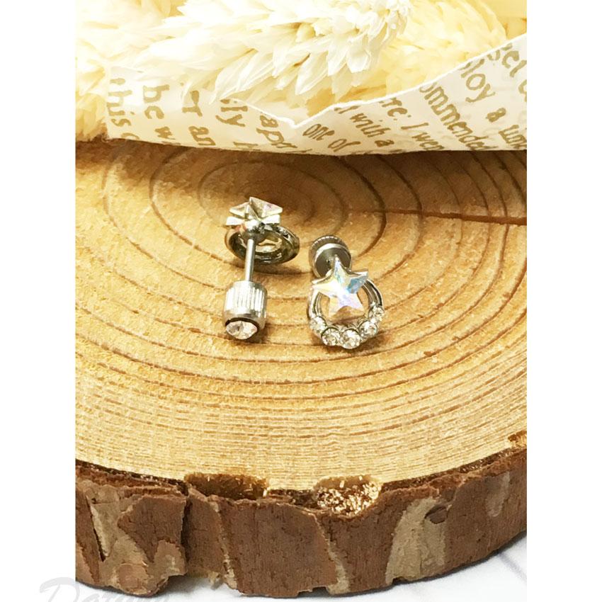 水鑽 星星 不銹鋼 耳針式 耳環