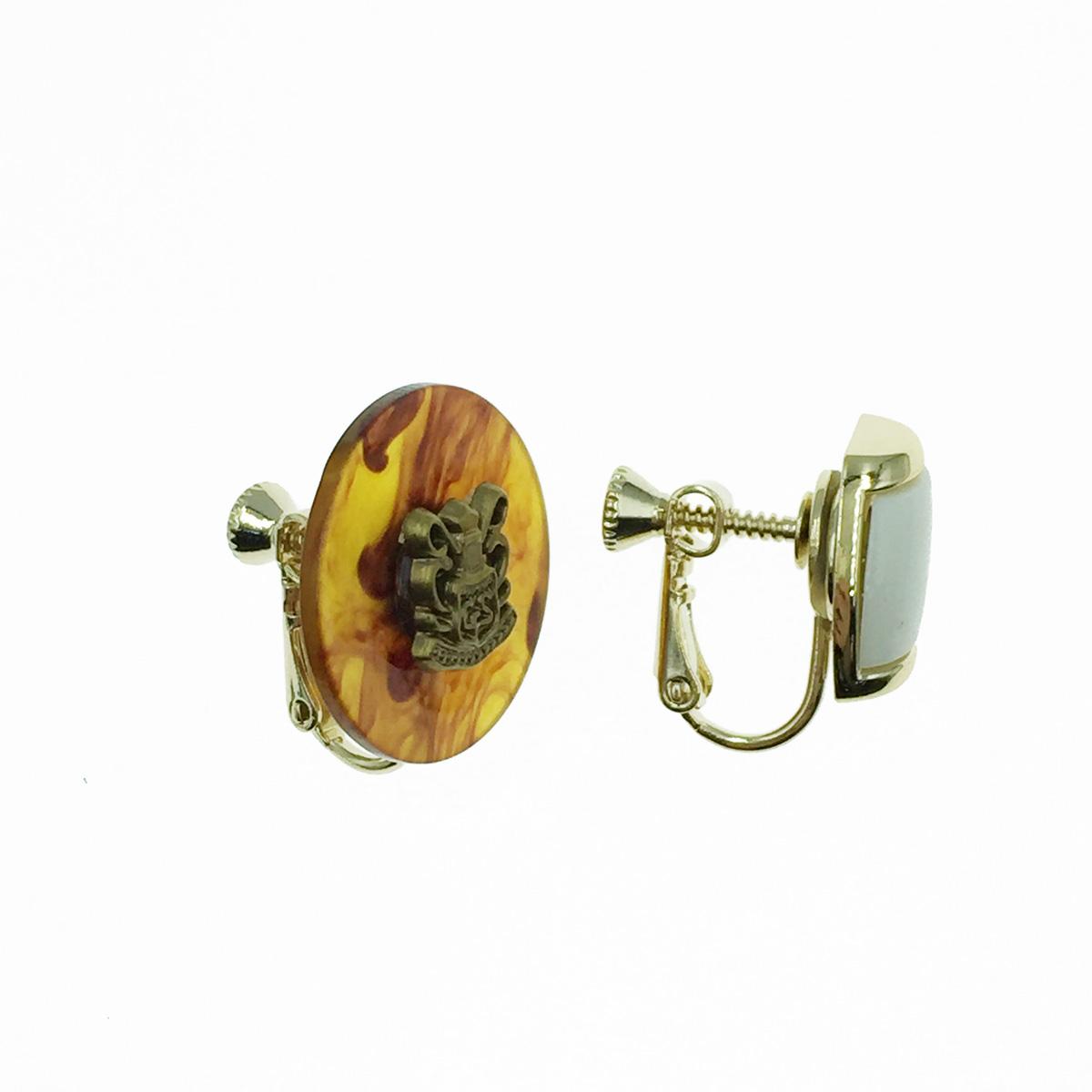 韓國 不對稱 復古風 夾式耳環