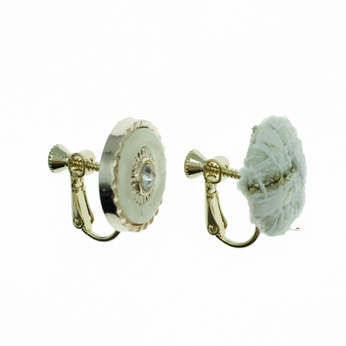 韓國 不對稱 編織 水鑽 夾式耳環