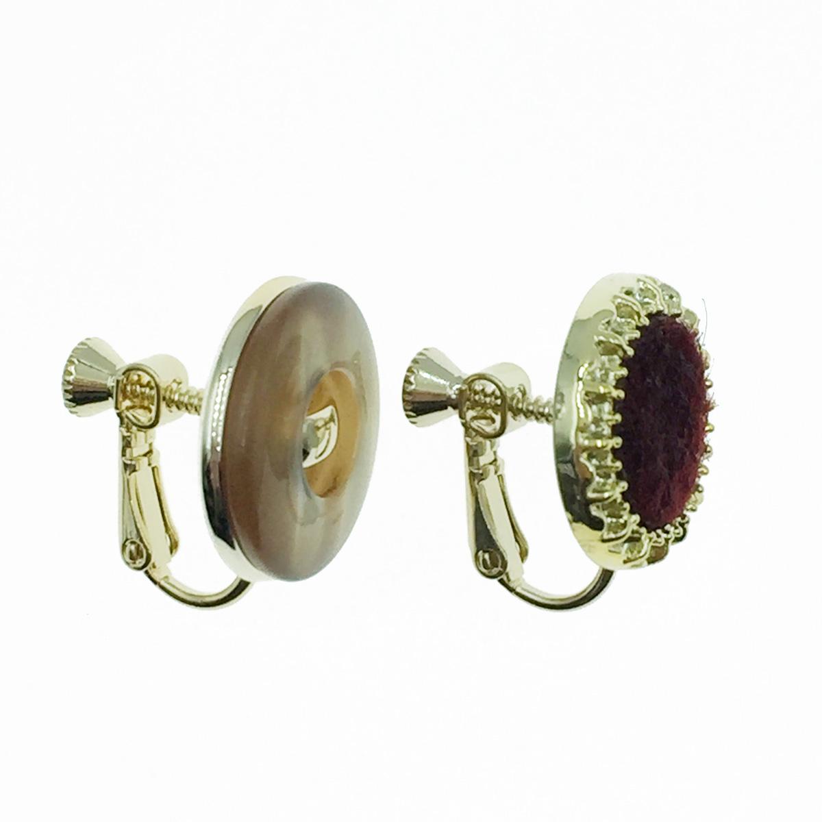 韓國 鈕扣造型 不對稱 復古風 夾式耳環